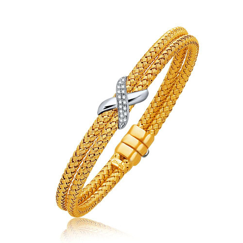 Basket Weave Bangle with Diamond Cross Accent in 14K Yellow Gold (7.0mm)