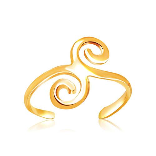14K Yellow Gold Scrollwork Motif Toe Ring