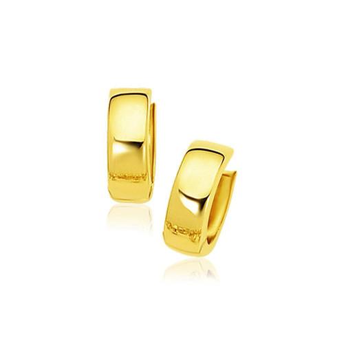 14K Yellow Gold Snuggable Hoop Earrings - 78806