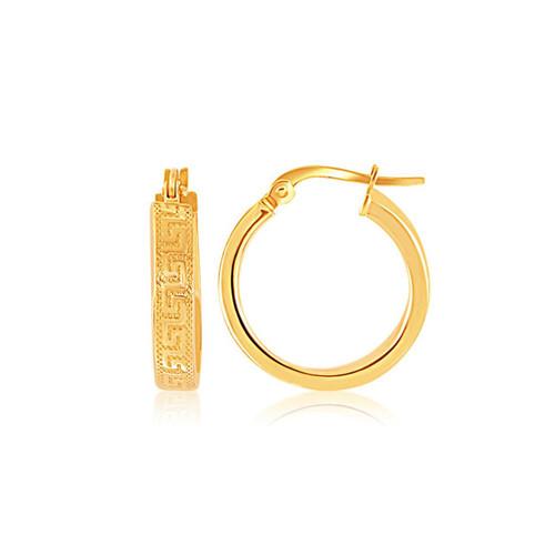 14K Yellow Gold Greek Key Small Hoop Earrings - 52629