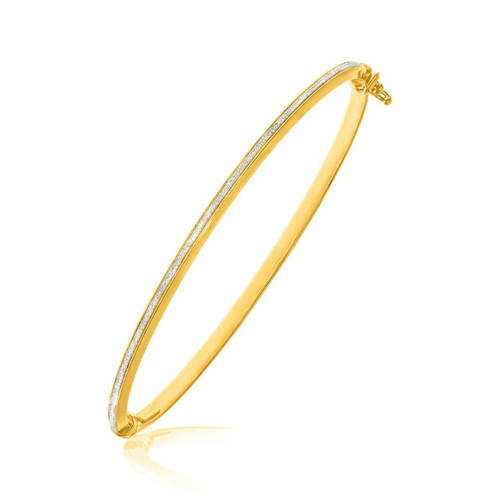 14K Two-Tone Gold Thin Bangle with a Textured Center