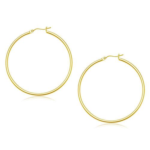 14K Yellow Gold Polished Hoop Earrings (45 mm) - 86399
