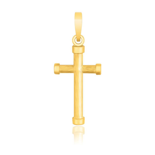 14K Yellow Gold Cross Pendant with Rounded Ends