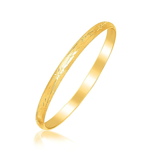 14K Yellow Gold Children's Bangle with Floral Diamond Cuts