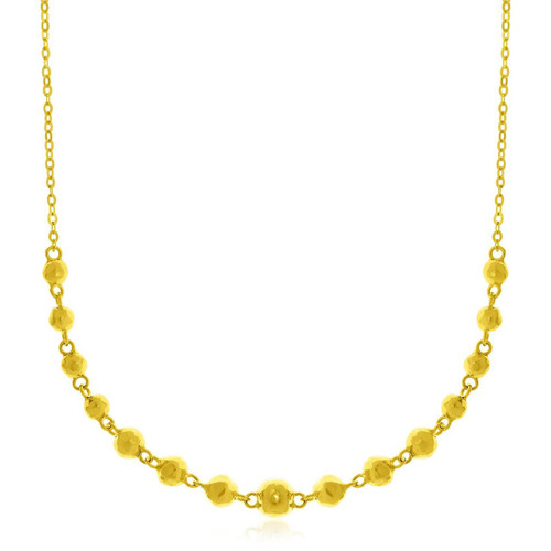 14K Yellow Gold Chain Necklace with Faceted Beads