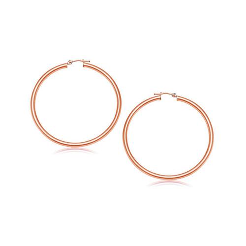 14K Rose Gold Polished Hoop Earrings (25 mm) - 08856