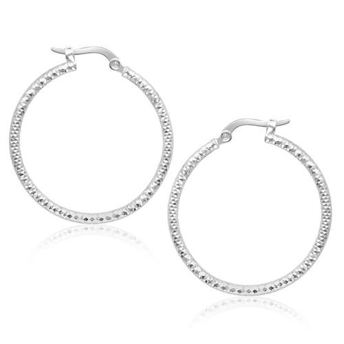 Textured Tube Hoop Earrings in 14K White Gold