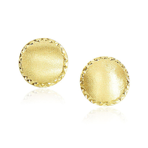 14K Yellow Gold Dome Satin Finish Earrings with Diamond Cut Edge