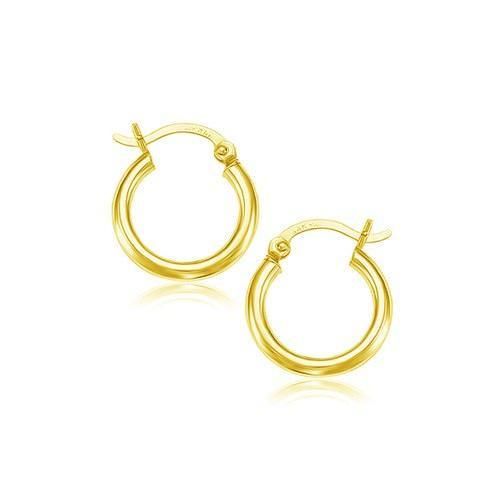 14K Yellow Gold Polished Hoop Earrings (15 mm) - 90094