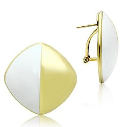 Earrings Ion Gold Plated and White Enamel Earrings