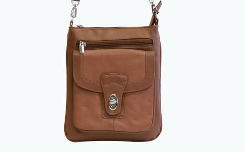 Vallemosso Tan Genuine Leather Cross-Body Bag