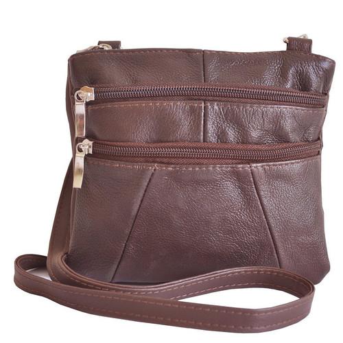 Vallemosso Dark Brown Genuine Leather Cross-Body Bag