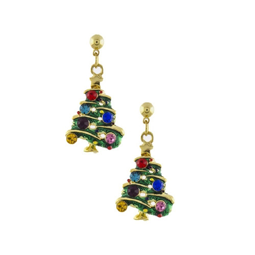 Green Christmas Tree with Crystals Drop Earrings Gold Plated