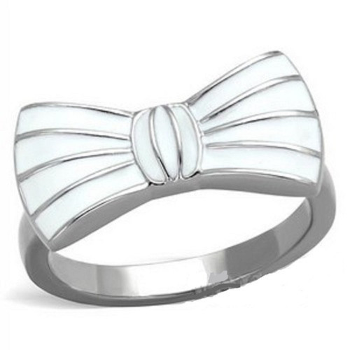 Polished Stainless Steel Ring with White Bow