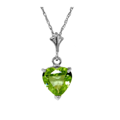 Natural Heart Peridot Necklace Sterling Silver 1.15 Carat
