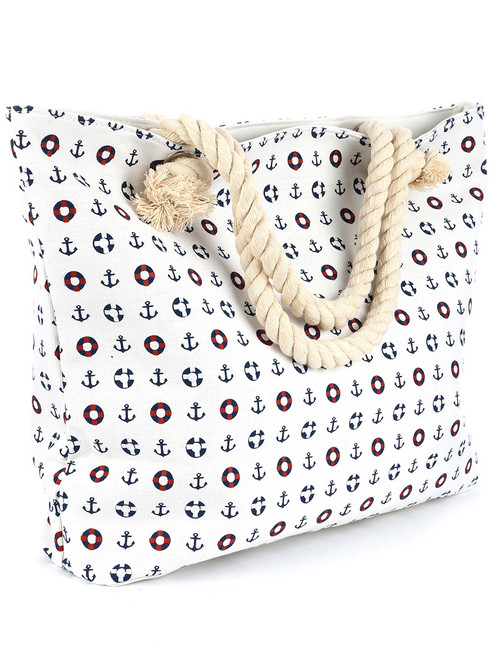 White Anchor Print Canvas Beach Bag Tote Handbag