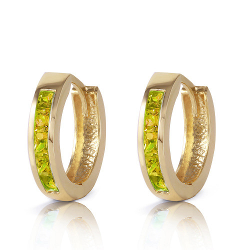 Hoop Huggie Earrings Peridot 1 Carat 14K Solid Gold