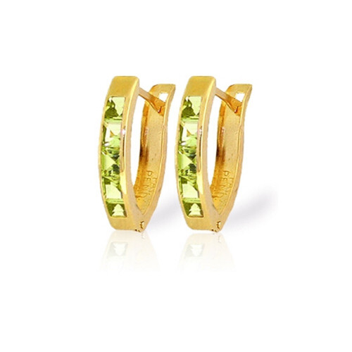 Oval Huggie Earrings Peridot 1 CTW 14K Solid Gold