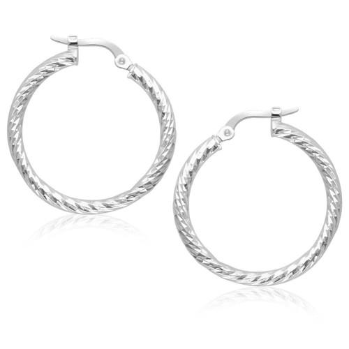 14K White Gold Tube Textured Design Hoop Earrings