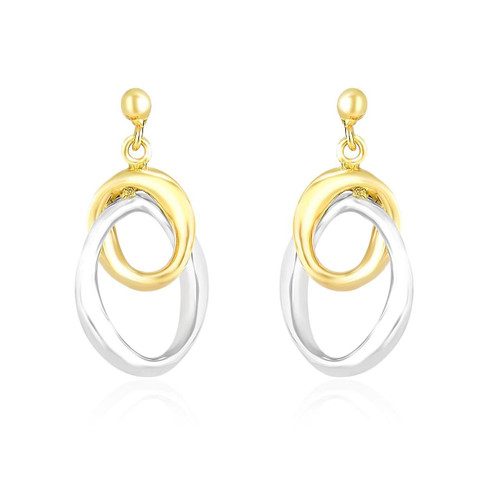Entwined Oval Drop Earrings in 14K Two-Tone Gold