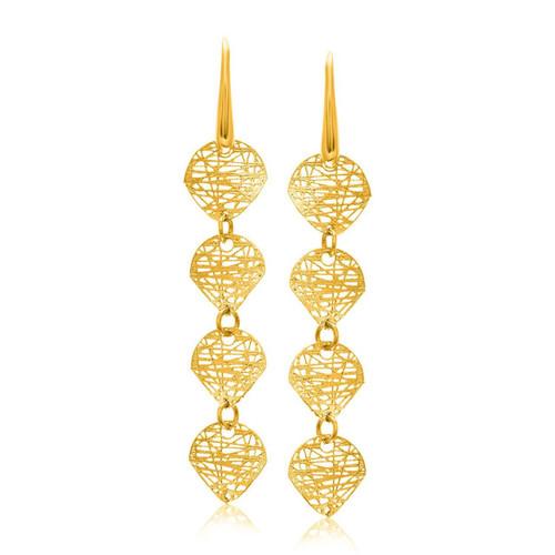 Mesh Leaf Like Dangling Earrings in 14K Yellow Gold