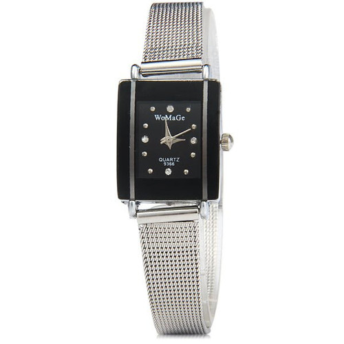 WoMaGe Thin Fashion Watch  Black Rectangle Dial Silver Alloy Band