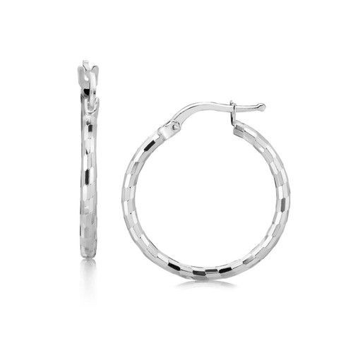 Sterling Silver Diamond Cut Hoop Earrings Rhodium Plating (20mm)