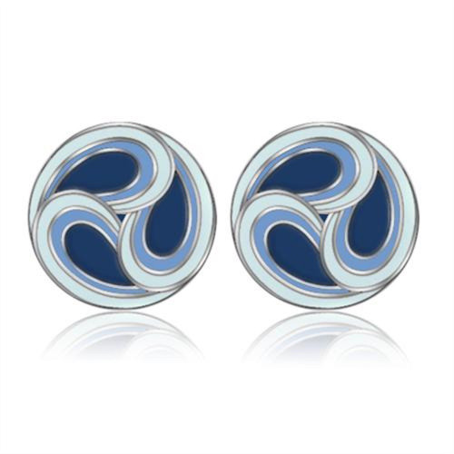 Stainless Steel Blue Epoxy Swirl Pierced Earrings