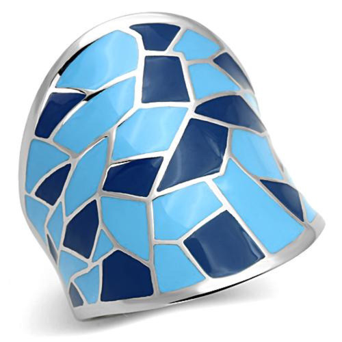 Stainless Steel Wide Blue Patchwork Epoxy Dome Style Ring