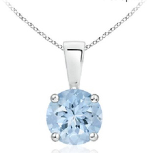 Sterling Silver Round Aquamarine Gemstone Pendant 1 ctw 18 inch Cable Chain