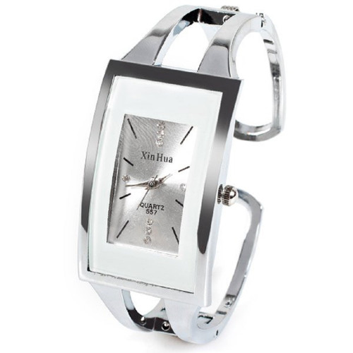 XinHua Stainless Steel White Watch Hinged Cuff Crystal Face Accents
