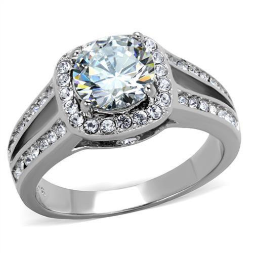 Stainless Steel Halo CZ Engagement, Cocktail, Fashion Ring