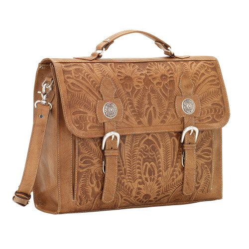 American West Stagecoach Hand- Tooled Multi compartment laptop briefcase