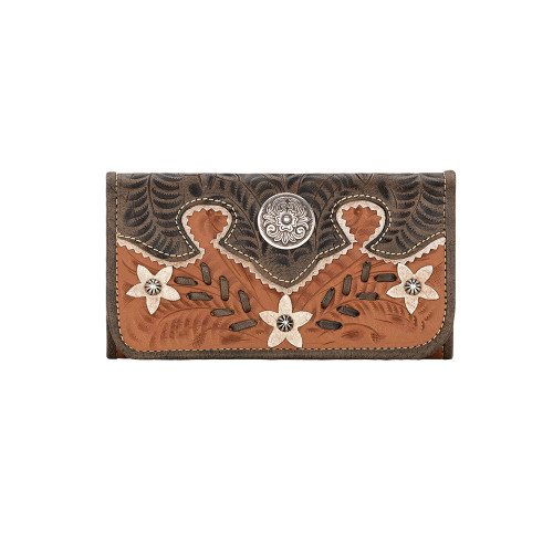American West Desert Wildflower Hand-Tooled Tri-Fold Wallet Golden Tan - Floral Design