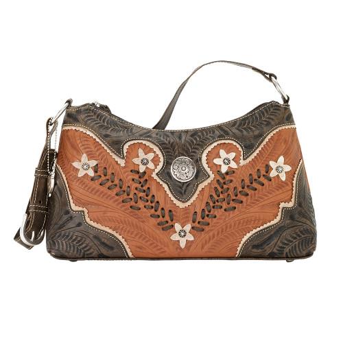 American West Desert Wildflower Hand-Tooled Zip-Top Shoulder Bag Golden Tan - Floral Design