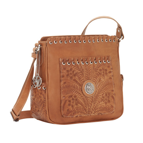 American West Harvest Moon All Access Crossbody Bag Hand-Tooled Golden Tan