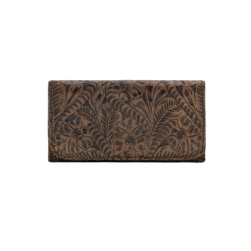American West Annie's Secret Collection Charcoal Brown Leather Ladies' Tri-fold Wallet