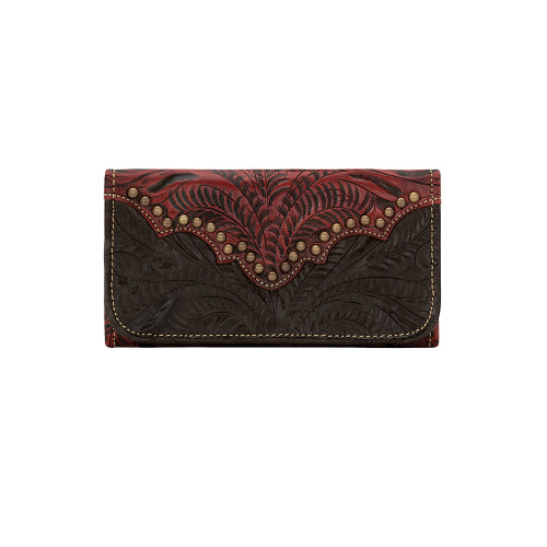 American West Annie's Secret Collection Ladies' Tri-Fold Wallet Distressed Crimson
