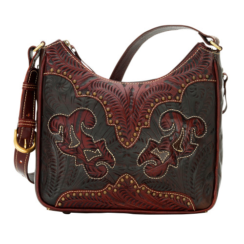American West Annie's Secret Collection Shoulder Bag Secret Compartment Distressed Crimson