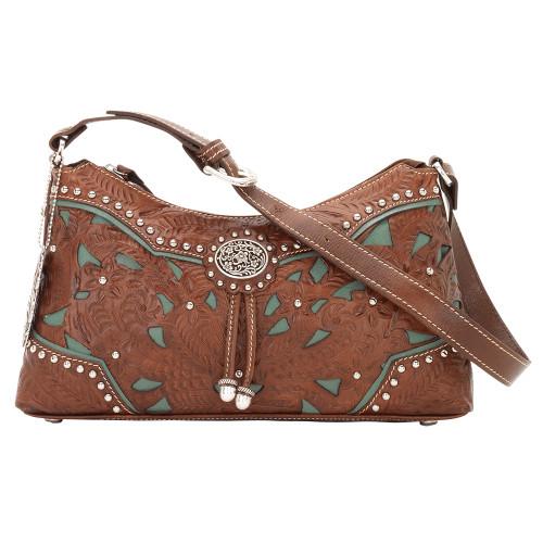 American West Lady Lace Zip-Top Shoulder Bag Antique Brown