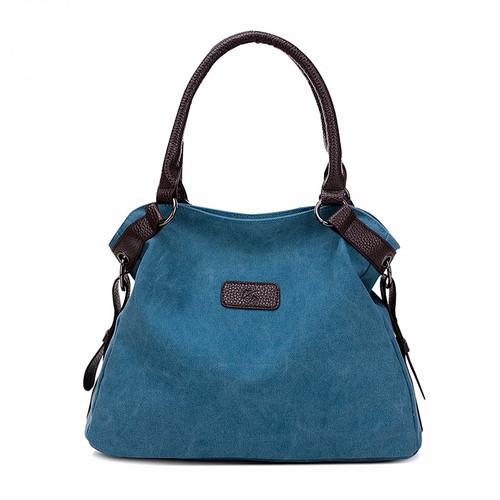 Designer Style Canvas Tote Handbag Double Handles and Crossbody Strap