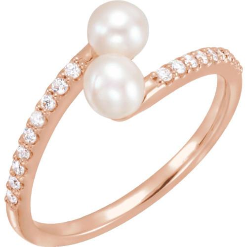 Freshwater Pearl & 1/6 CTW Diamond Bypass Ring 14K Rose Gold