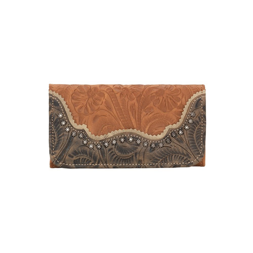 American West Saddle Ridge Ladies' Tri-fold Wallet Golden Tan / Distressed Charcoal Brown / Sand