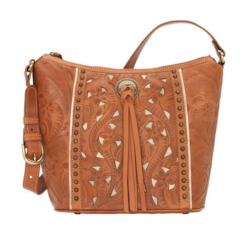 American West Hill Country Zip Top Bucket Tote Golden Tan / Sand
