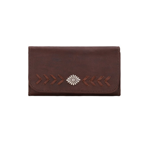 American West Mohave Canyon Ladies' Tri-Fold Wallet Chestnut Brown
