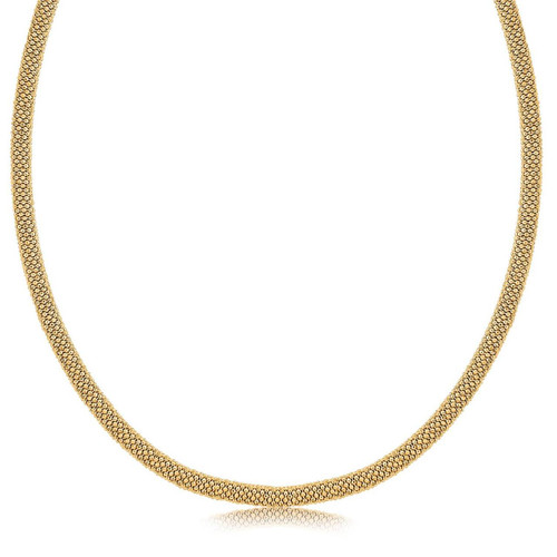 Sterling Silver Rhodium Plated Yellow Gold Plated Popcorn Style Necklace