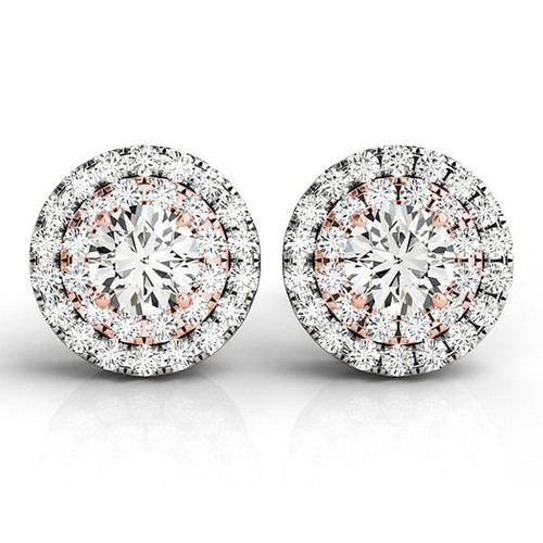 14K White and Rose Gold Round Halo Diamond Earrings (3/4 ct. tw.)