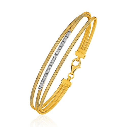 14K Three-Part Gold and 1pt Diamond Bangle Bracelet with Clasp (1/5 ct. tw.)