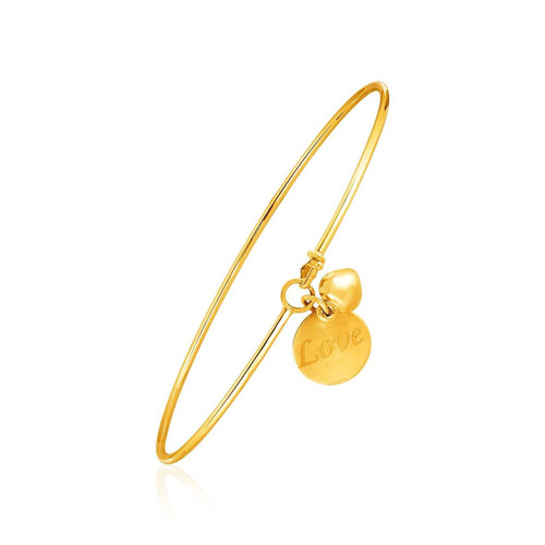 "14K Yellow Gold Bangle with Engraved ""Love"" and Puffed Heart Charms"