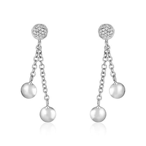 14K White Gold and Diamond Puff Circle Dangle Earrings (1/5 ct. tw.)